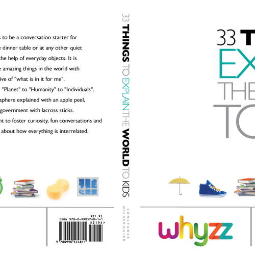 Create a book cover for - 33 Things to explain the world to kids. Design by poppins