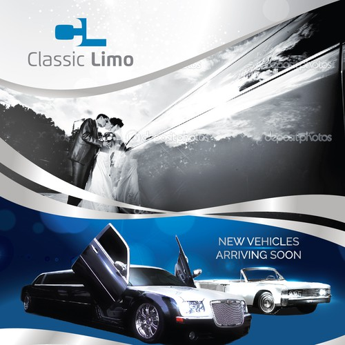 Full page wedding ad for limo company   Postcard, flyer or