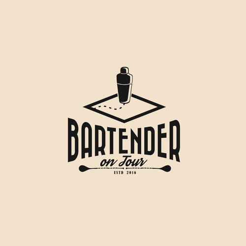 Refined (yet fun) logo for a traveling cocktail bartender ...