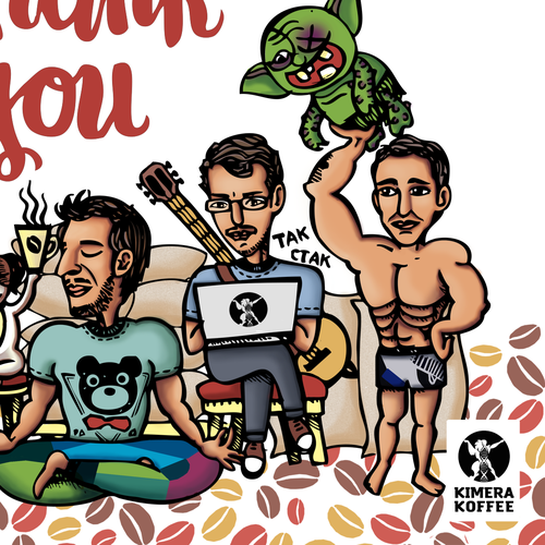 Kimera Koffee Needs a Funny Thank You Card for customers | Karte oder Einladung Wettbewerb