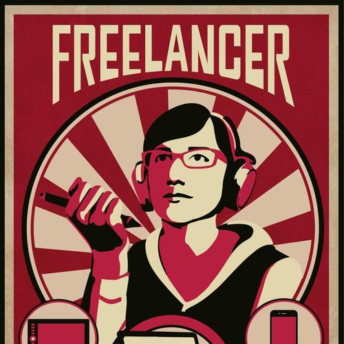 ISO: simple propaganda style vector illustration for new start up! Diseño de sweetkina