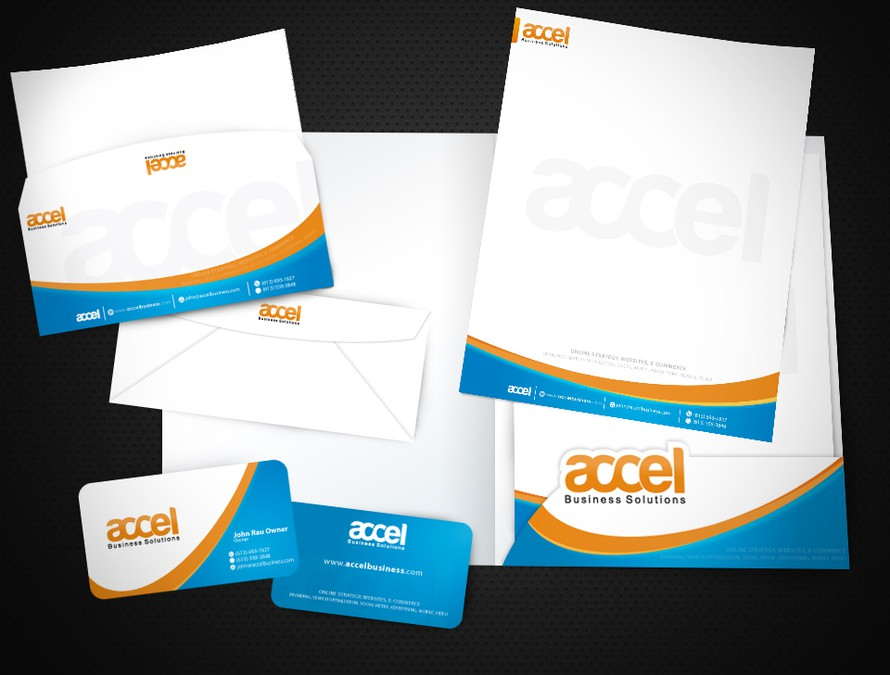 Business card letterhead report template and envelope for accel winning design by stylepixel flashek Choice Image