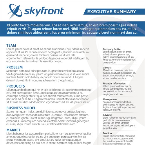 design a one page company summary for a drone company