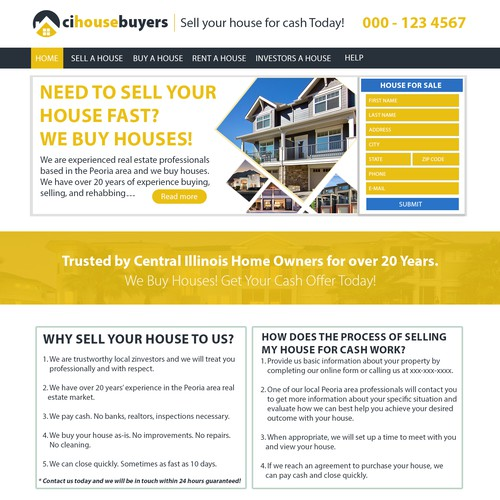 Houses Websites: Home Page/Landing Page Design For A We Buy Houses Website