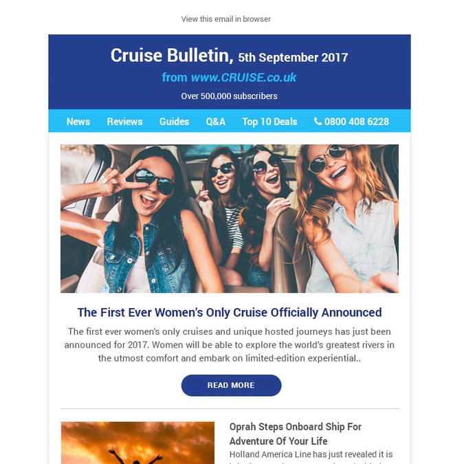 Email Design For A Travel Agent News & Features Newsletter | Email