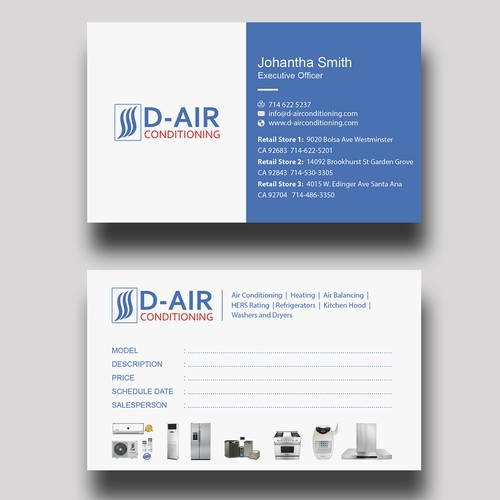 Design a business card for an air conditioning company business runner up design by innovativedesigns colourmoves