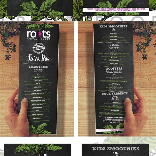 organic menu design for a modern natural kitchen and juice bar with