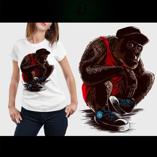 "Design a ""Sneaker Chimps"" t-shirt for shopfocodesigns.com Design by APM galery"