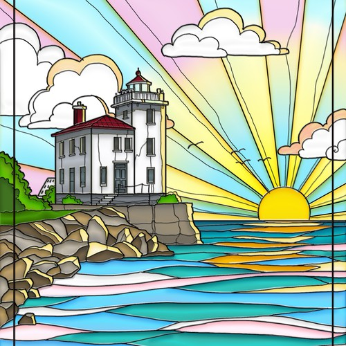 Lighthouse Stained Glass Window Designs Other Art Or Illustration Contest 99designs