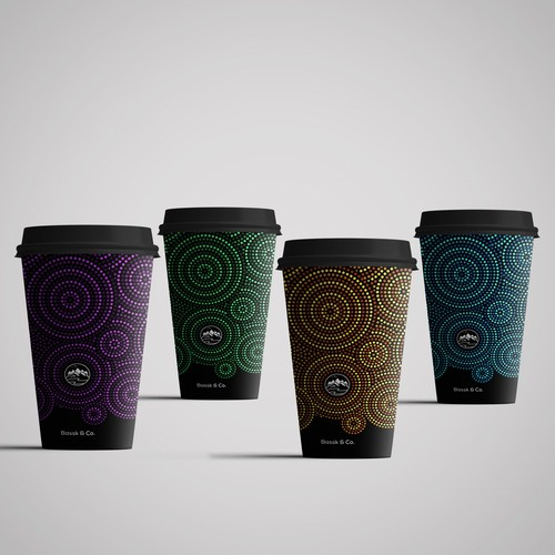 Elegant paper coffee cup design, takeaway cup packaging set with..