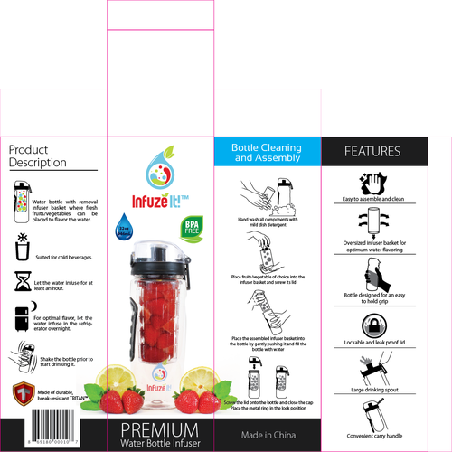 create a simple and elegant box design for a water bottle infuser product packaging contest. Black Bedroom Furniture Sets. Home Design Ideas