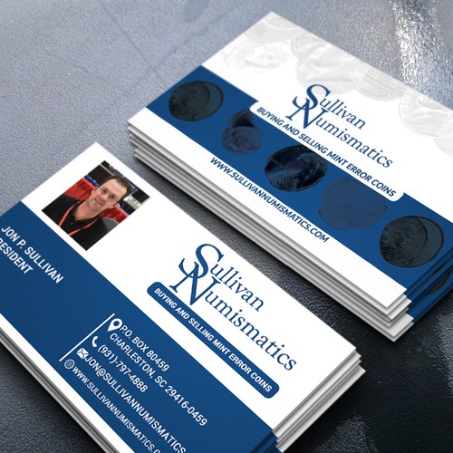 Business card for rare coin dealer in mint errors business card runner up design by ri graphics reheart Gallery