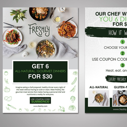Create a clear and captivating promotional insert for Freshly, a healthy food service Design by FuturisticBug