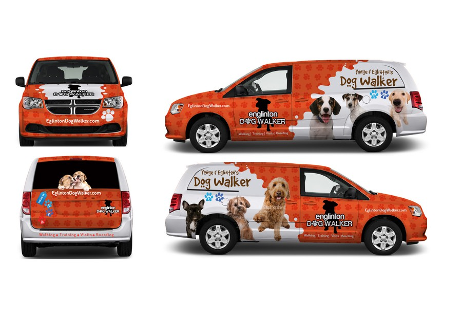 vehicle wrap design needed 4 dog walking company signage
