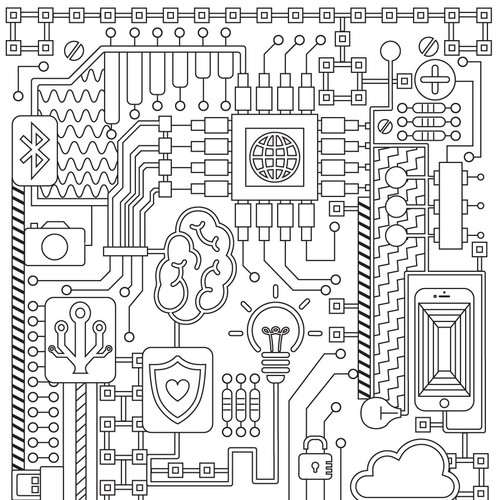 Technology Themed Adult Coloring Book Page Illustration Or Graphics Contest 99designs