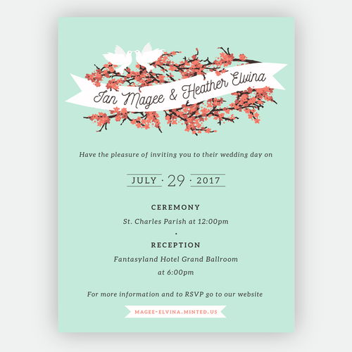 Coral And Mint Wedding Invitations: Wedding Invitation With Mint And Coral