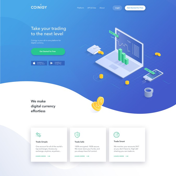 Clean and Modern Design for Cryptocurrency SaaS Product