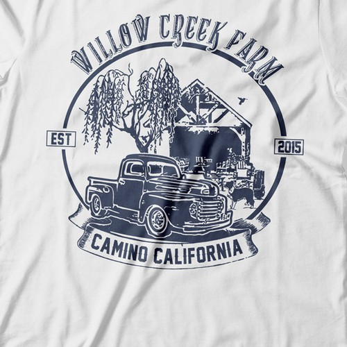 Create a cool vintage t shirt for willow creek farm t for Willow creek designs