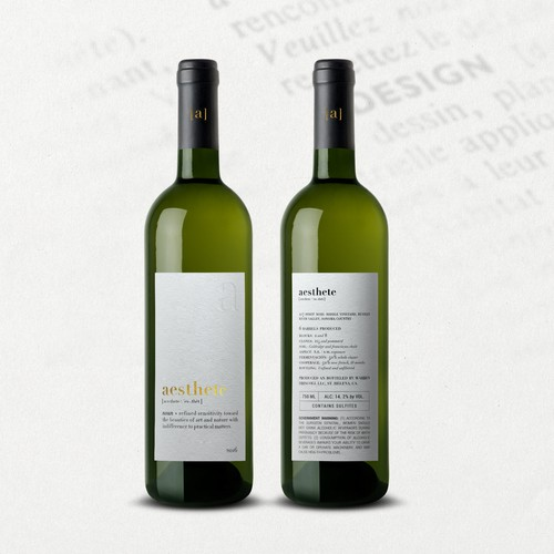 Minimalistic wine label needed Design by O Ñ A T E
