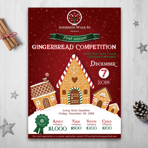 Palo Cedro Country Christmas 2020 Gingerbread competition   Poster contest   99designs