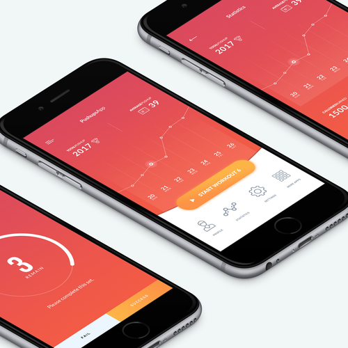 Create a simple, beautiful UI for a Push-Up fitness app Design by Nashrulmalik