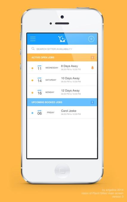 Redesign Ios Mobile App For Planit Sitter App Design Contest