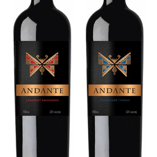 Wine label designer needed for Andante: award-winning, expertly curated wines from Chile Design by Sonia Maggi