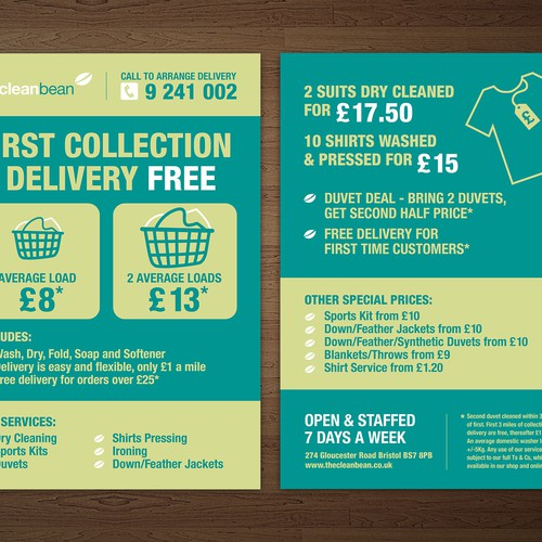Flyer design for our new laundry delivery service to promote our runner up design by pamunkaze pronofoot35fo Image collections