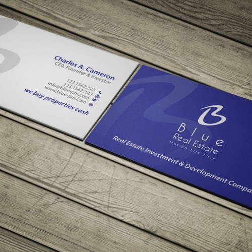Business card real estate investingdevelopment company simple runner up design by conceptu reheart Image collections