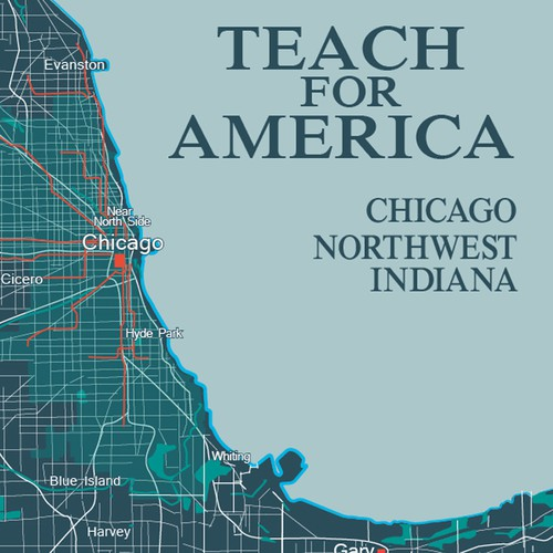 Chicago America Map.Design Inclusive Focal Art Map For Lobby At Teach For America