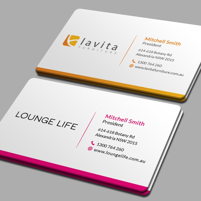 Create A Double Sided Business Card For Two Furniture Brands