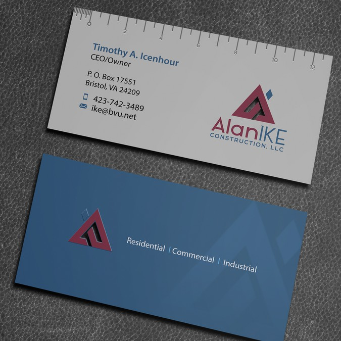 Visually Unique Construction Business Card Design