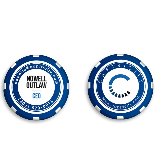Business Card On Poker Chip Visitenkarte Wettbewerb