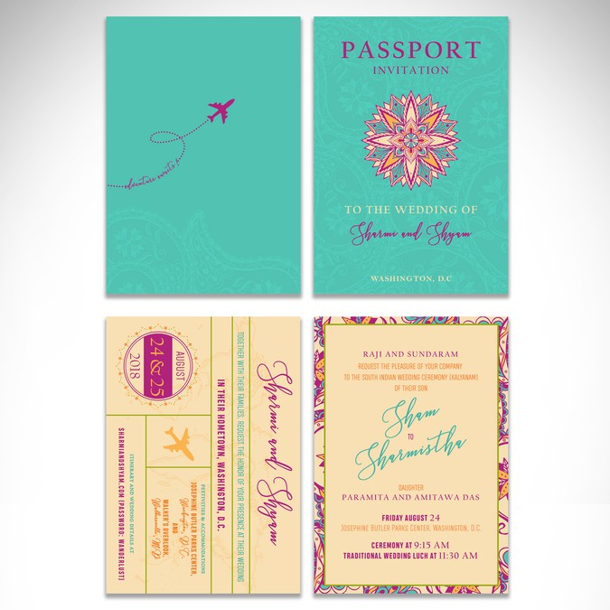 Whimsical Travel Themed Wedding Invitation With Indian Theme