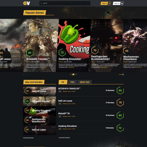 Design the landing page of a video game review website | Landing
