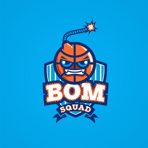 create a fun company basketball team logo bom squad logo design contest 99designs logo bom squad logo design contest