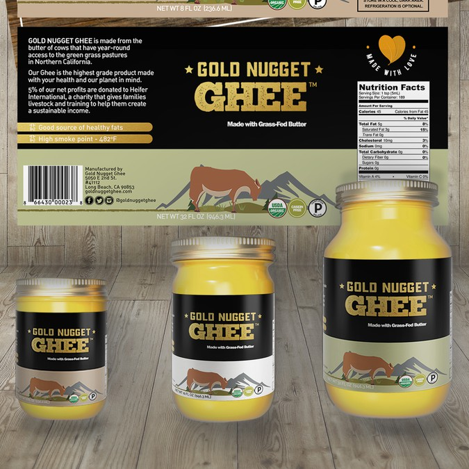 create a captivating jar label for gold nugget ghee product