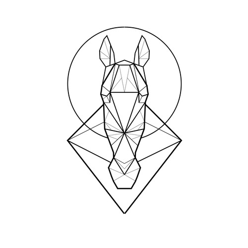 Looking for a tattoo design horse geometric pattern Design by Vysotskaya Alla