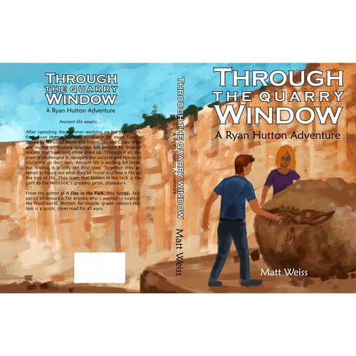 Design book cover about fossil hunting middle school students Design by Nero Bernales