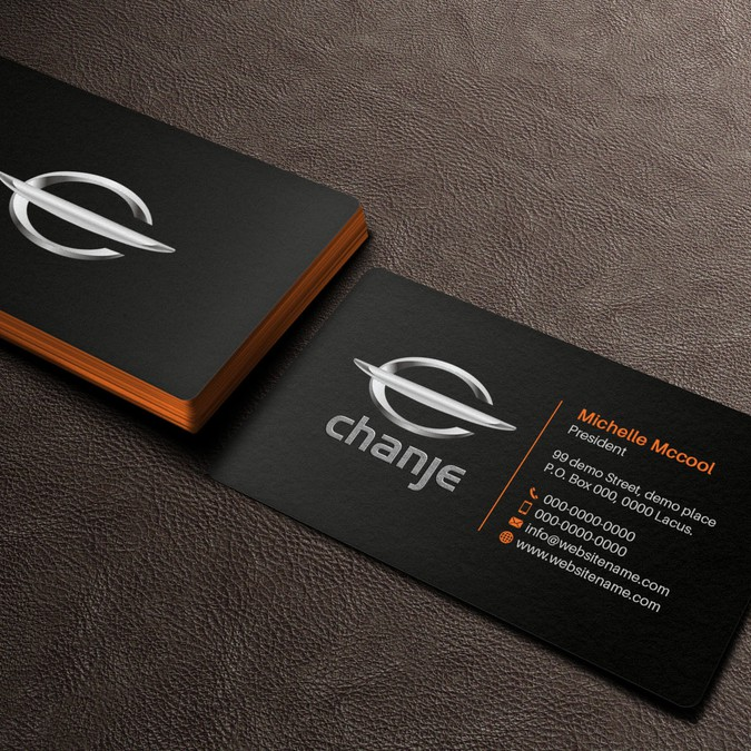 Create a clean & energizing business card for Chanje