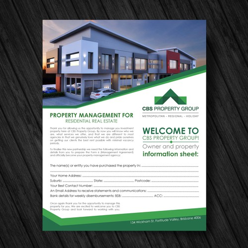 information sheet design for real estate company はがき チラシ