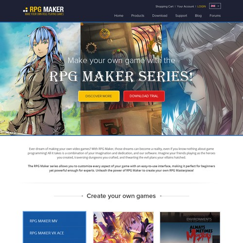 Create a new website design for RPG Maker | Web page design