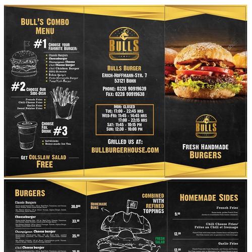creative menu card for a burger restaurant menu contest