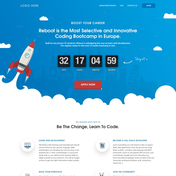 Create landing page for Reboot coding bootcamp | Landing