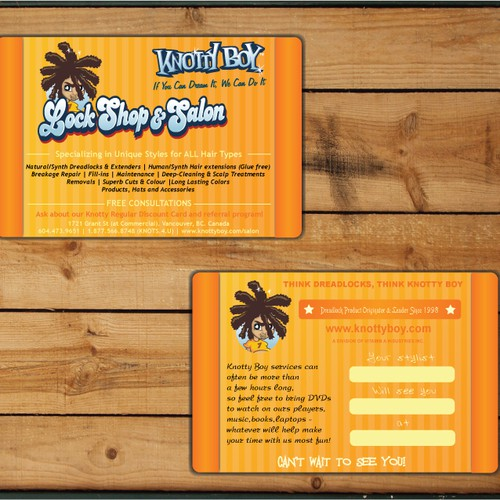 Dreadlock extreme hair salon businessappointment card runner up design by brankov colourmoves