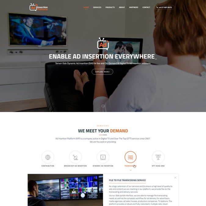 Video & broadcast service web site | Web page design contest