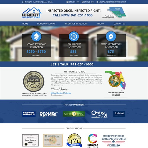 Direct Inspections Home Inspection Website Web Page Design Contest
