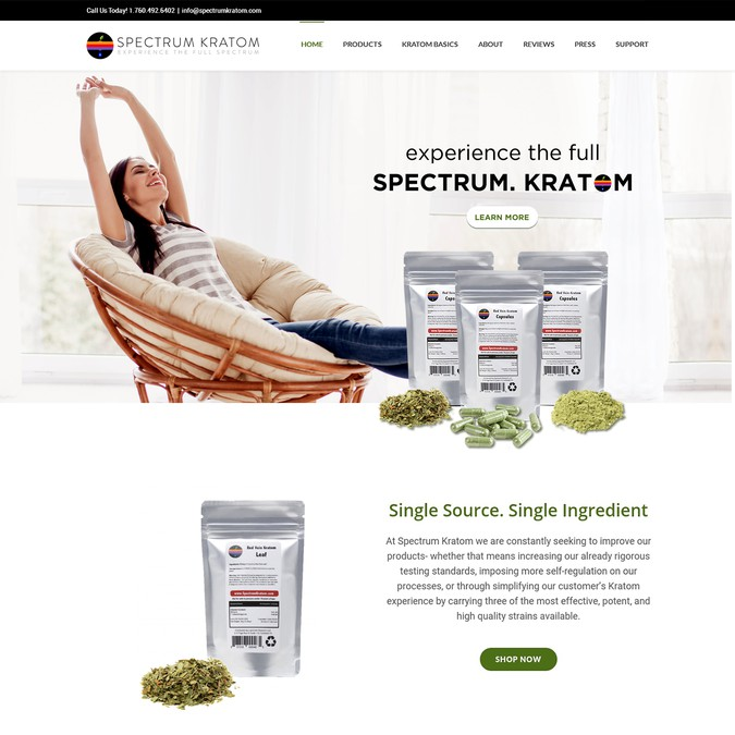 Spectrum Kratom home page and new tagline | Landing page