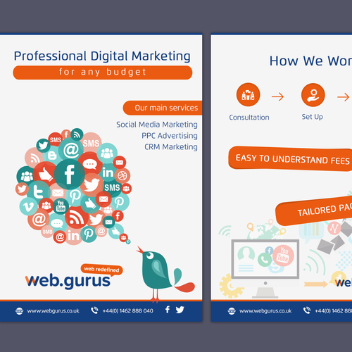 design a leaflet for a digital marketing agency はがき チラシ