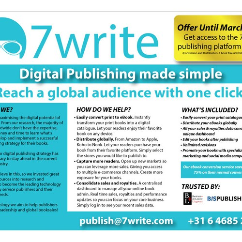 Australian publishing startup 7write needs 1 page leaflet for Door 2 door leaflets